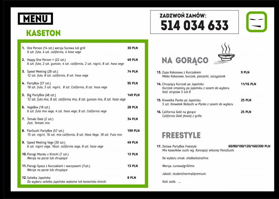 menu w pan sushi